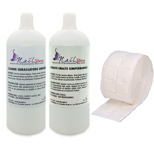 Kit Ricarica Cleaner 1L+ Rimuovi Smalto Semipermanente 1L + Pads