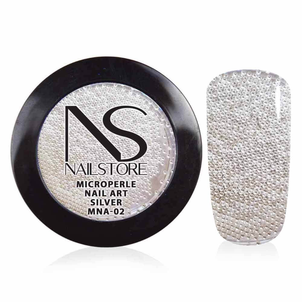 Microperle Nail Art Silver