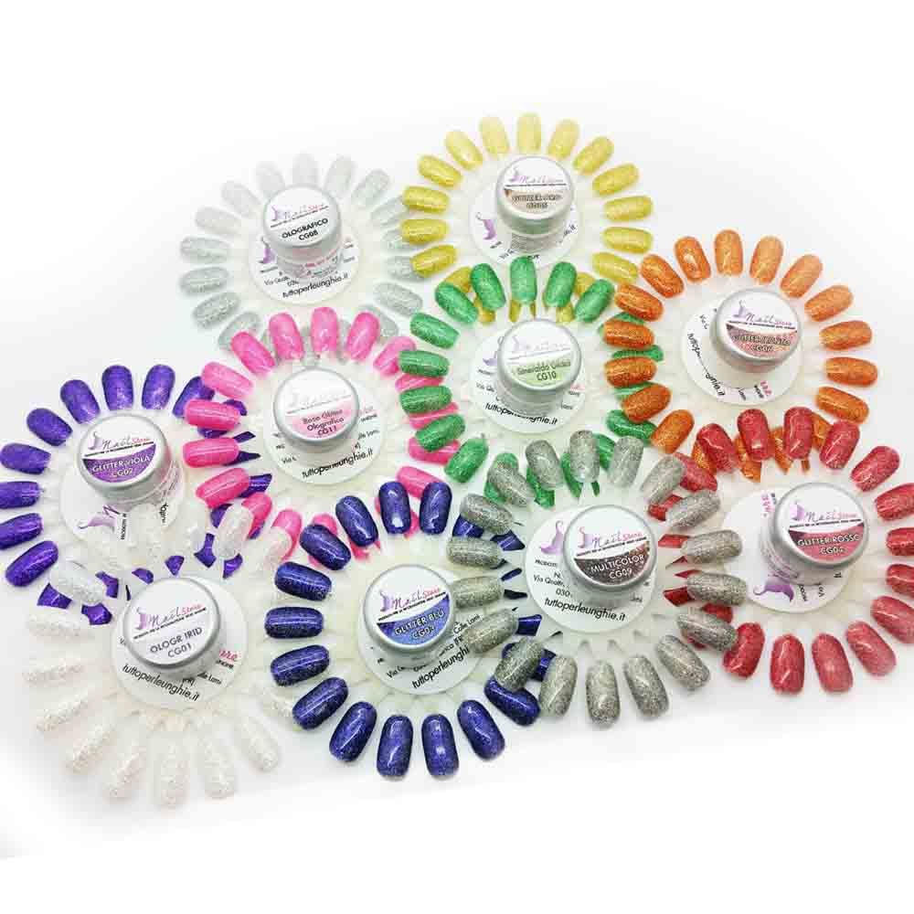 Set Gel UV 10 Colori Glitter